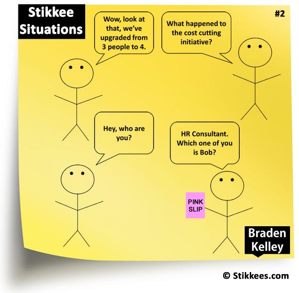 Stikkee Situations - Downsizing Cartoon