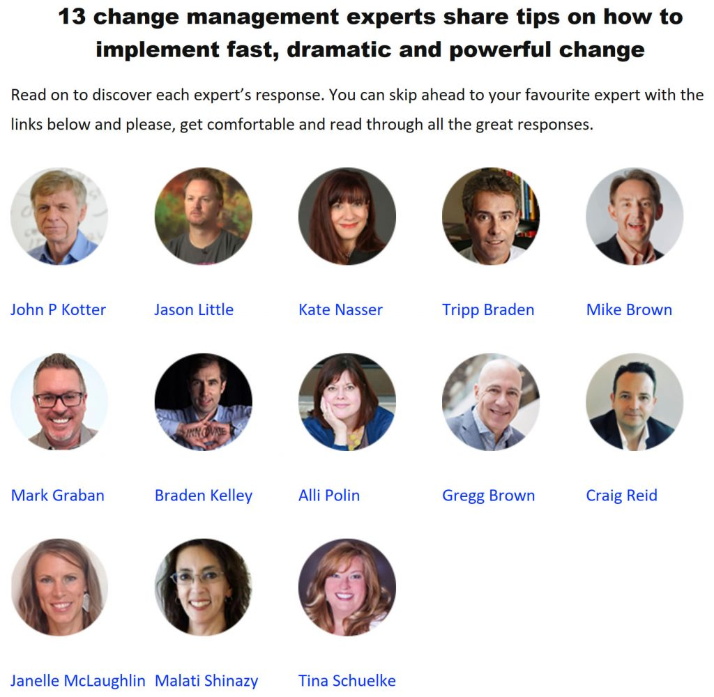 13 Change Management Experts Share Their Tips