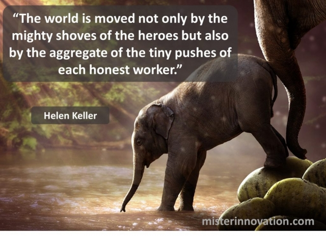 Helen Keller Quote on Moving the World with Tiny Pushes