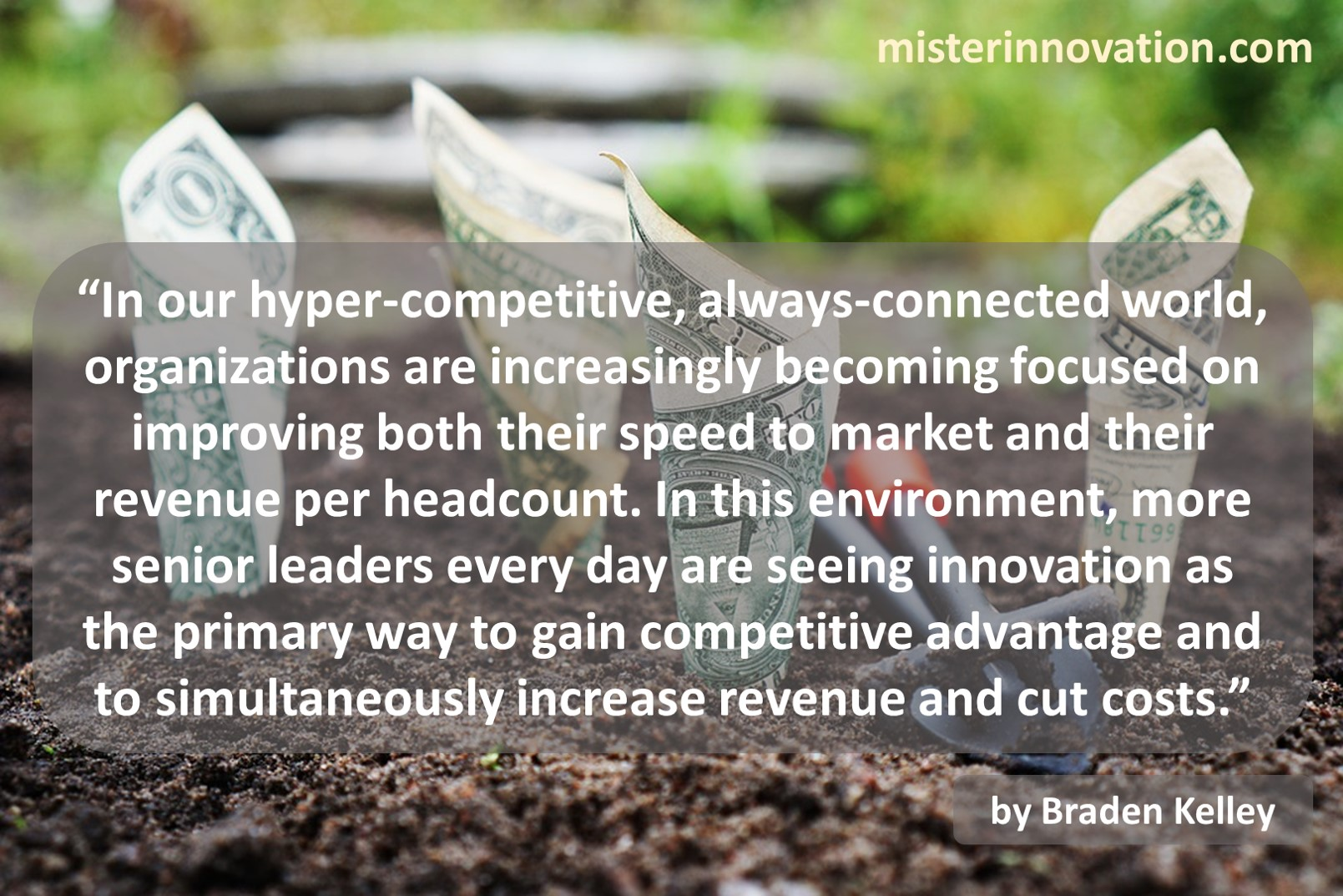 Increase Revenue Cut Costs Innovation Quote from Braden Kelley