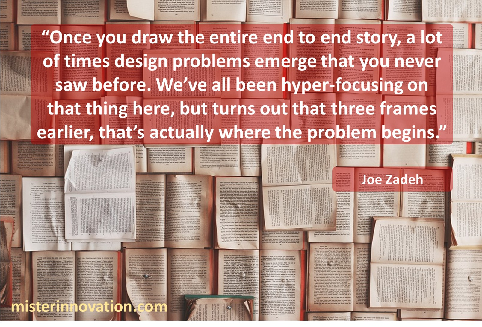 Joe Zadeh Quote on How Storytelling Helps Design Problems Emerge