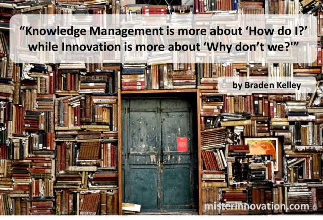 Knowledge Management vs Innovation Quote from Braden Kelley