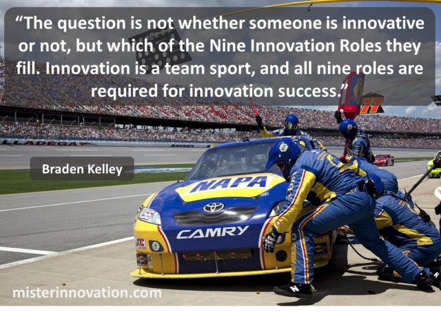 Nine Innovation Roles and Team Sport quote from Braden Kelley