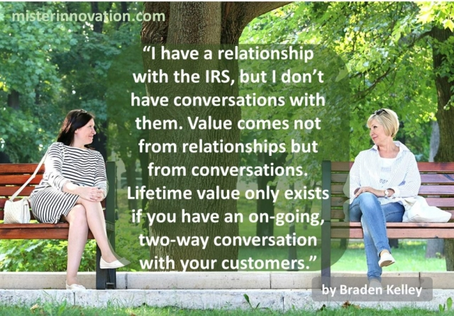 Quote from Braden Keley About Relationships, Conversations and Lifetime Value
