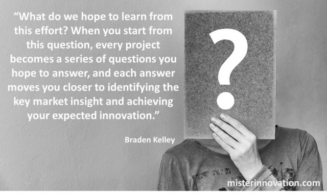 Braden Kelley Quote on Series of Questions and Achieving Expected Innovation