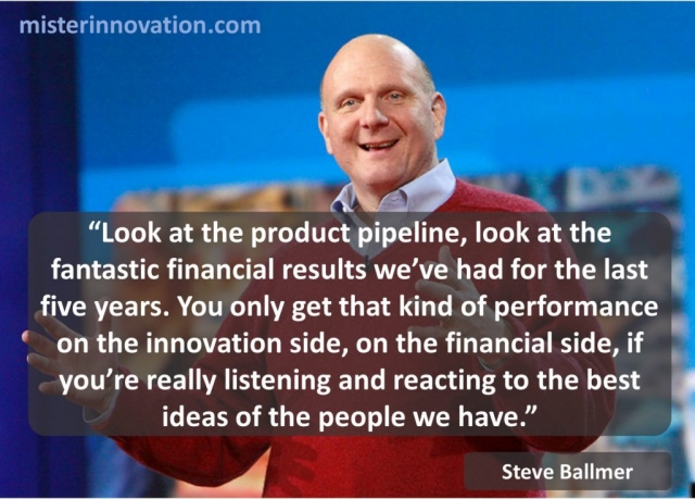 Steve Ballmer Quote on Product Pipeline and Innovation Results