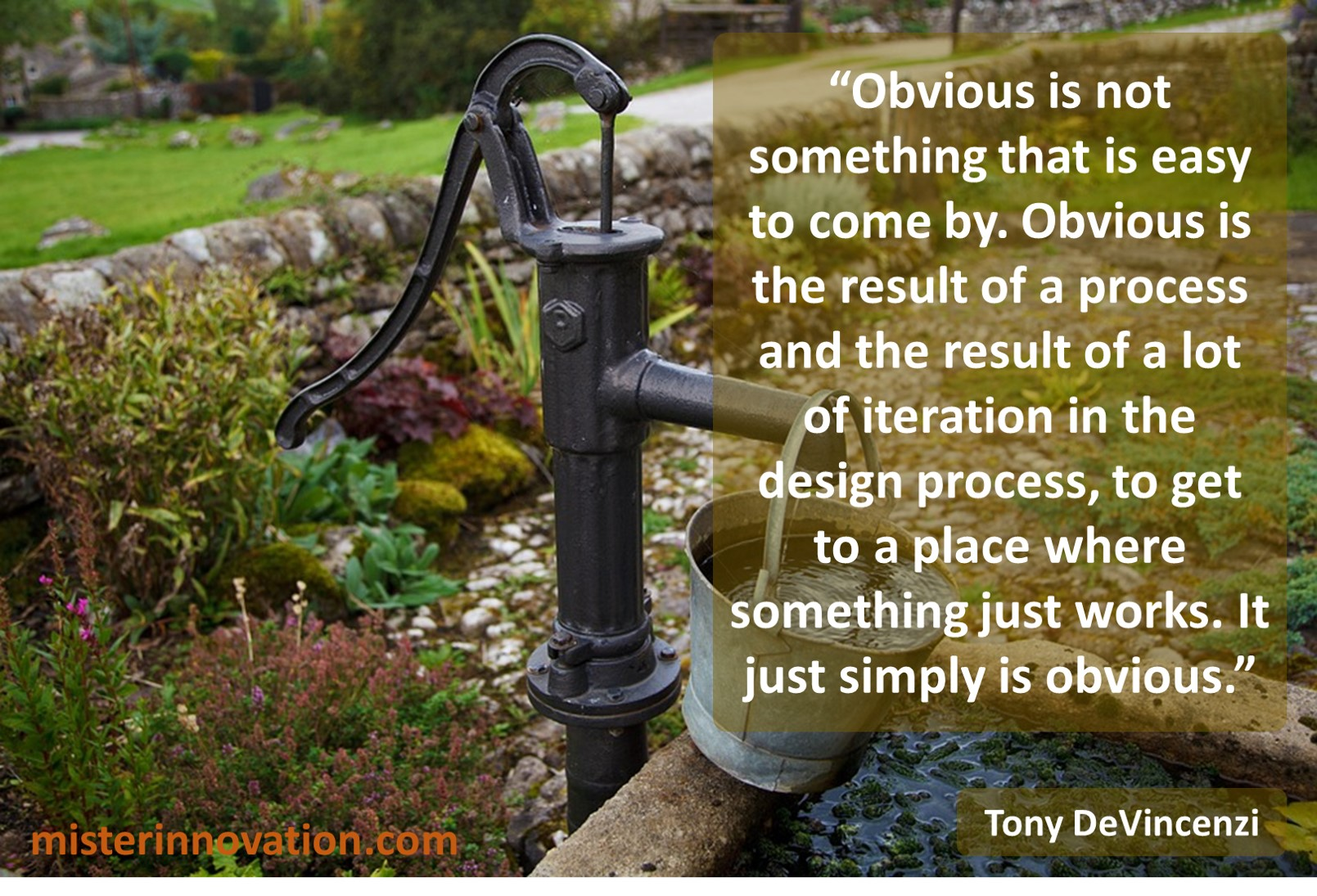 Tony DeVincenzi Quote on the Obvious and the Design Process